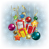 Abstract Christmas greeting with gifts Stock Photo