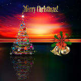 Abstract Christmas greeting with hand bells Stock Photography