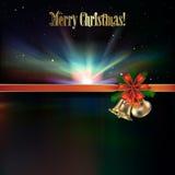 Abstract Christmas greeting with handbells. Abstract Christmas greeting with bells red ribbon and stars Stock Images