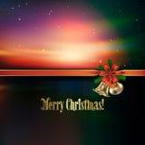 Abstract Christmas greeting with handbells. And red ribbon Stock Photos