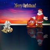 Abstract Christmas greeting with Santa Claus and b. Abstract Christmas greeting with bells white ribbon and Santa Claus Royalty Free Stock Photo