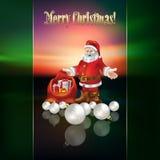 Abstract Christmas greeting with Santa Claus. Abstract Christmas greeting with Santa and decorations Stock Photos