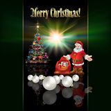 Abstract Christmas greeting with Santa Claus. And decorations Royalty Free Stock Images