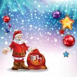 Abstract Christmas greeting with Santa Claus and decorations. Abstract Christmas greeting with Santa Claus gifts and decorations Royalty Free Stock Image