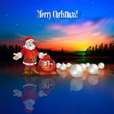 Abstract Christmas greeting with Santa Claus and g. Abstract Christmas greeting with Santa Claus decorations and forest Royalty Free Stock Photography