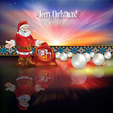 Abstract Christmas greeting with Santa Claus and g. Abstract Christmas greeting with Santa Claus gifts and white decorations Royalty Free Stock Photography