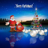 Abstract Christmas greeting with Santa Claus and gifts. Abstract Christmas greeting with Santa Claus decorations and forest lake Stock Images