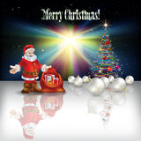 Abstract Christmas greeting with Santa Claus. Abstract Christmas greeting with tree Santa Claus and decorations Royalty Free Stock Image