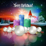 Abstract Christmas greeting with silhouette of castle Royalty Free Stock Image