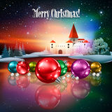 Abstract Christmas greeting with silhouette of castle Stock Images