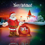 Abstract Christmas greeting with silhouette of castle Royalty Free Stock Photo
