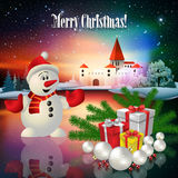 Abstract Christmas greeting with silhouette of castle Royalty Free Stock Images