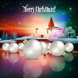 Abstract Christmas greeting with silhouette of castle Stock Photo