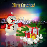 Abstract Christmas greeting with silhouette of city Stock Photography