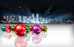 Abstract Christmas greeting with silhouette of city Royalty Free Stock Photo