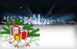 Abstract Christmas greeting with silhouette of city Royalty Free Stock Photos