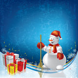 Abstract Christmas greeting with snowman and gifts Stock Photos