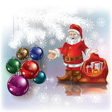 Abstract Christmas Greeting With Santa And Gifts Stock Photography