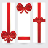 Abstract christmas holiday banner set. With red ribbon Stock Photography