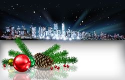 Abstract Christmas greeting with silhouette of city Stock Photo