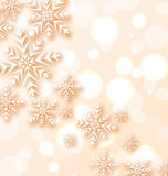 Abstract Christmas light background with snowflake Stock Image