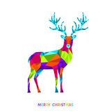 Abstract Christmas low poly triangle reindeer  on white. Abstract Christmas low poly triangle reindeer. Xmas greeting card with colorful  deer  on white Royalty Free Stock Images