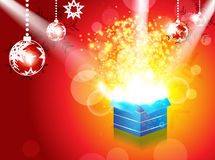 Abstract christmas magic box with spot light Royalty Free Stock Photos