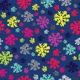 Abstract Christmas and New Year Background with Snow and Snowflakes in neon colors. Vector Illustration royalty free illustration