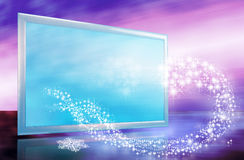 Abstract christmas or new year card. With tv screen and stars wave in futuristic colors Royalty Free Stock Photos
