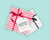 Abstract Christmas and New Year Gift Box on Blue Background. Vector Illustration. EPS10 royalty free illustration