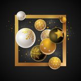 Merry Christmas Design Template. Abstract Christmas and new year greeting card design with 3d white, black and gold Christmas balls . Elements are layered Stock Illustration