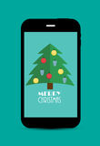 Abstract Christmas and New Year Mobile Phone Royalty Free Stock Images