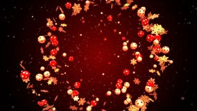 Abstract christmas and new year romantic background with flying xmas balls