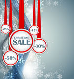 Abstract Christmas and New Year SALE Concept Wave Background with Lights and Snowflakes. Vector Illustration Stock Photos