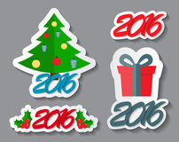 Abstract Christmas and New Year Sticker Set Royalty Free Stock Photos