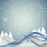 Abstract Christmas and New Year Wave Background with Lights, Tre Stock Photography
