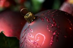 Abstract Christmas Ornament Closeup. An abstract Christmas ornament closeup with selective focus, with focus on top of ornament, horizontal with copy space Stock Photography