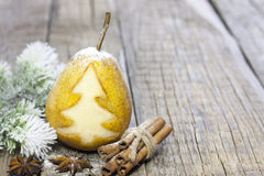 Abstract christmas pear with green tree Royalty Free Stock Photography