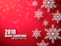 Abstract Christmas red background with snowflakes. 2018 celebrate background. Abstract Christmas red background with snowflakes. 2018 celebrate background with Royalty Free Stock Image