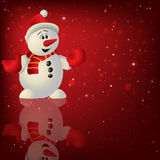 Abstract Christmas red background with snowman Stock Photos