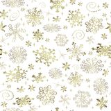 Abstract Christmas seamless pattern with golden snowflakes royalty free stock photo