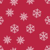 Abstract Christmas seamless pattern from white snowflakes on red background. For holiday, new year, celebration, party. Vector illustration Royalty Free Stock Photos