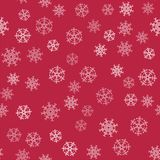 Abstract Christmas seamless pattern from white snowflakes on red background. For holiday, new year, celebration, party. Vector illustration Royalty Free Stock Image