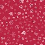 Abstract Christmas seamless pattern from white snowflakes on red background. For holiday, new year, celebration, party. Vector illustration Stock Photos