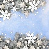 Abstract Christmas Snowflake Star and Snow Border