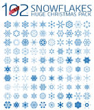 102 abstract Christmas snowflakes. Huge icon set isolated on white royalty free illustration