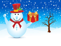 Abstract christmas snowman with gift Royalty Free Stock Photo