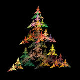 Abstract christmas symmetrical fractal background. On a black base colour Royalty Free Illustration