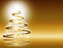 Abstract christmas three background. Abstract christmas three on gold background Royalty Free Stock Image