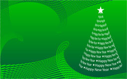 Abstract Christmas tree. On the green background. Vector illustration Stock Image